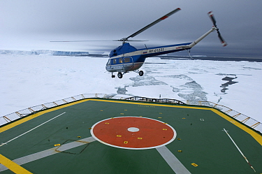 Tourist helicopter taking off from heli-deck of ice-breaker, on route to Snow Hill Island Emperor Penguin colony, Weddell Sea, Antarctica, November 2006