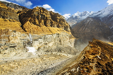 U shaped valley caused by rapidly retreating South Annapurna glacier in the Annapurna sanctuary, Nepalese Himalayas, Nepal. December 2012.