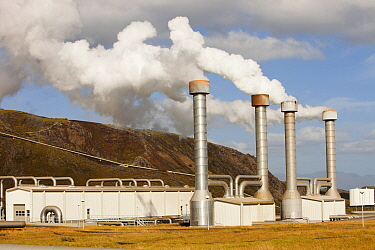 Hellisheidi geothermal power station in Hengill, Iceland is the worlds second largest geothermal power station. It also supplies hot water via a pipeline to Reykjavik for space heating for households...