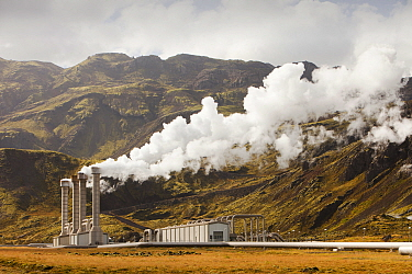 Hellisheidi geothermal power station in Hengill, Iceland. It also supplies hot water via a pipeline to Reykjavik for space heating for households and industry September 2010.