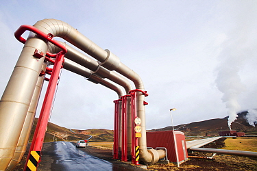 Krafla geothermal power station near Myvatn, Iceland, which produces electricity as well as supplying hot water to heat buildings in the surrounding area. September 2010.