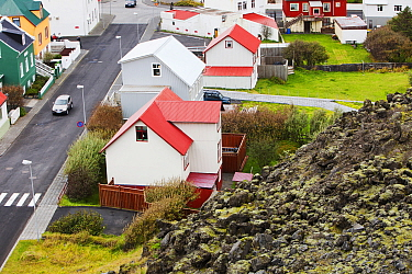 House which narrowly survived lava flow from eruption and formation of the volcano Eldfell on 23 January 1973. Heimaey town, Westmand Islands, Iceland. September 2010.