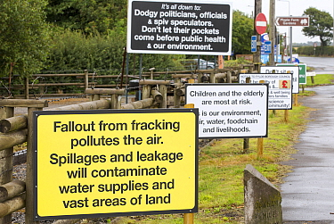 Protest banner against fracking at a farm site at Little Plumpton near Blackpool, Lancashire, UK, where the council for the first time in the UK, has granted planning permission for commercial frackin...