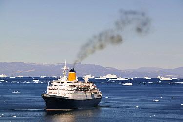 Cruise ship off Illulisat,  Greenland, July 2008.