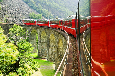 Bernina Glacier express train, which goes from Chur in Switzerland to Tirano in Italy. June 2007.