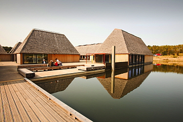 The Brockholes visitor centre at the Lancashire Wildlife Trust reserve in Preston, Lancashire, UK. The Brockholes reserve is a wetland habitat constructed from old gravel pit workings. The green visit...