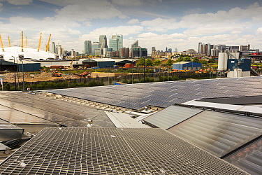Solar thermal and solar PV panels on the roof of the Crystal building which is the first building in the world to be awarded an outstanding BREEAM (BRE Environmental Assessment Method) rating and a LE...