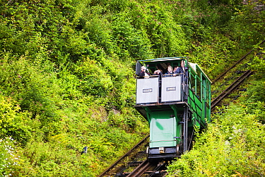Cliff railway linking Lynmouth with Lynton on the north Devon coast. The railway is water powered, with a tank underneath the top carriage filling with water, till it is heavy enough to fall by gravit...