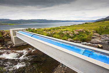 A 700 Kw hydro power plant being constructed on the slopes of Ben more, Isle of Mull, Scotland, UK. August 2014.