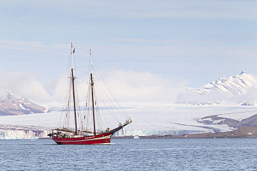 S/V Noorderlicht, two-masted schooner, built in 1910 as light vessel for the German navy now used as an expedition vessel. Spitsbergen, Svalbard,Norway, Arctic Ocean
