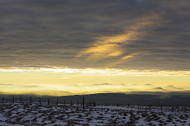 Looking towards the Lake District hills from Hartside in the North Pennines, England, UK, January.