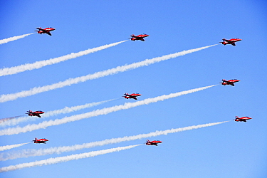The RAF Red Arrows flying over the Lake District during the Windermere Air Show, England, UK. July.