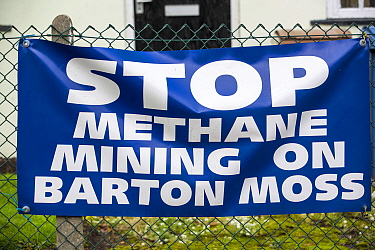 'Stop Methane Mining on Barton Moss' sign on Chat Moss peat bog, to protest  planning permission for fracking and coal bed methane mining, Manchester, England, UK. November 2013.