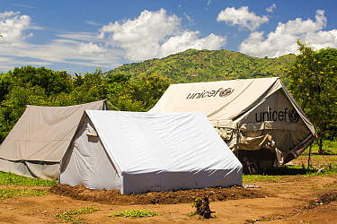 Refugee camp tents for people displaced by flooding in January 2015, Shire Valley near Chikwawa, Malawi, March 2015.