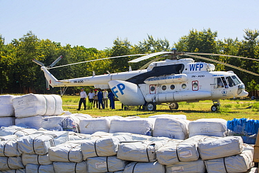 Russian Mi8 helicopter used by the United Nations, World Food Program to deliver food aid to areas of Malawi still cut off by the by the January 2015 flooding around Makhanga and Bangula, Malawi, Marc...
