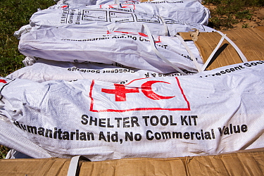 Red Cross shelter tool kits waiting to be airlifted into areas affected by the January 2015 flood. Malawi, March 2015.