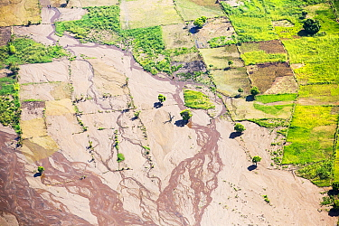 Aerial view of flooded farmland around Makhanga, which two months after the January 2015 floods, is still cut off after rail and road connections which were washed away. Malawi, March 2015.
