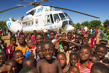 Russian Mi8 helicopter being used by the United Nations, World Food Program to deliver food aid to areas still cut off by the flooding, around Bangula and Mkhanga. Malawi, March 2015.