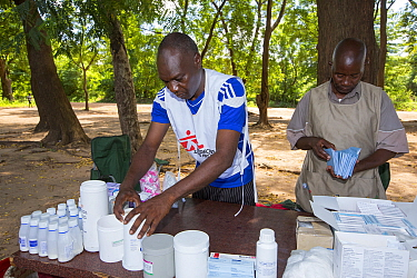 Medecins sans Frontieres  clinic in Makhanga, with anti malarial drugs to treat local people, many of whom now have malaria.  A result of the January 2015 floods, the drying up flood waters provided a...