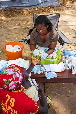 Medecins sans Frontieres  clinic in Makhanga testing local people, many of whom now have malaria. A result of the January 2015 floods, the drying up flood waters provided an ideal breeding grounds for...