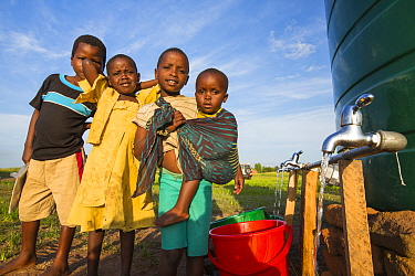 Children displaced by flooding at Chiteskesa refugee camp, near Mulanje, Malawi. March 2015.