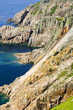 The Devils Slide sea cliff, Lundy Island, Devon, UK, England, UK. June 2006.
