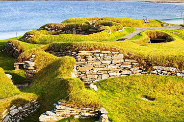 Skara Brae on Orkney, Scotland. October 2011. This ancient village dates from around 3200 BC making it the oldest village in Europe. It was revealed by a great storm in 1850. It consists of eight hous...