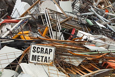 Scrap metal awaiting recycling at Jindabyne  rubbish dump in the Snowy Mountains, Australia. February 2010.
