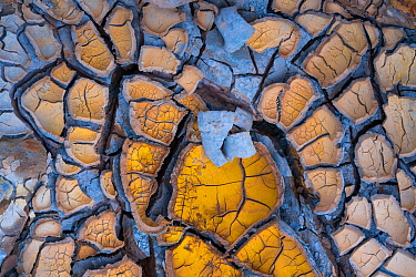 Dried up mud in the Rio Tinto - Red River, Sierra Morena, Gulf of C�diz, Andalucia, Spain. January 2017.
