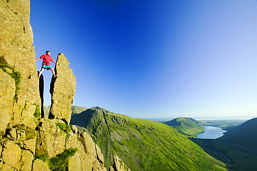 Man climbing on Great Gable in the Lake District, England, UK. July 2005