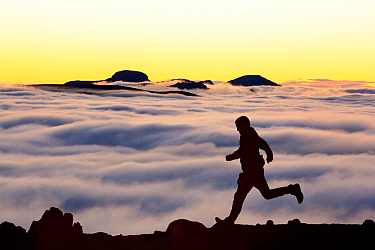 Great Gable from Red Screes, with silhouetted runner and low clouds caused by temperature inversion. Lake District, Cumbria, UK. September 2013