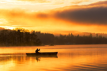 Sunrise over Lake Windermere in Ambleside, Lake District, UK, with a man paddling a Canadian Canoe. December 2014