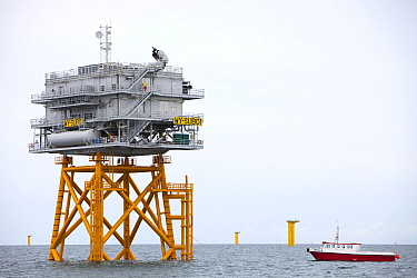 Transformer substation that connects all the electric cable from each turbine, before sending the electricity ashore. The Walney Offshore Windfarm project, Barrow in Furness, Cumbria, England, UK.  Ju...