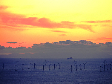 An Irish sea gas platform and wind turbines in the Irish sea from Black Coombe in the Lake district, Cumbria, UK. November 2012