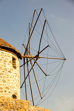 Old traditional Greek cloth sailed windmills in Kontias on Lemnos, Greece. October 2012