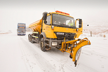 Snow plough on Dunmail Raise, Lake District, England, UK. December 2010