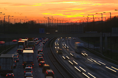 Rush hour traffic on the M60 motorway near Manchester UK. January 2007