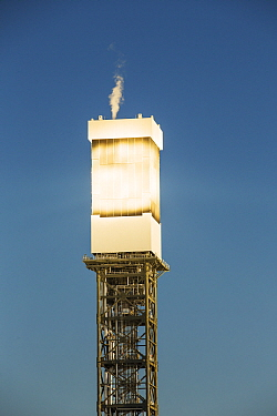 Sun rays reflected onto solar tower at Ivanpah Solar Thermal Power Plant,  the largest solar thermal plant in the world. It covers 4,000 acres of desert and produce 392 megawatts (MW) of electricity....