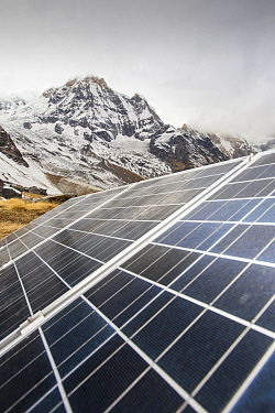 Solar photo voltaic panels powering a Guest house at Annapurna Base Camp in the Himalayas, Nepal. December 2012