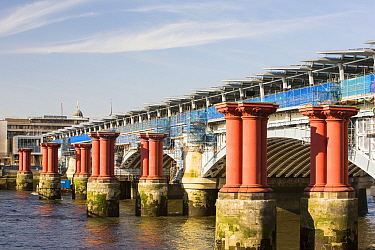 Blackfriars Bridge across the River Thames in London, UK, is the world's largest solar bridge. Its parapet contains over 4400 solar photo voltaic panels, generating 50% of the stations electricity nee...