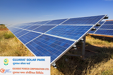 Asia's largest solar popwer station, the Gujarat Solar Park, in Gujarat, India. It has an installed capacity of 1000 MW. December 2013