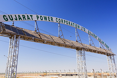 Asia's largest solar power station, the Gujarat Solar Park,   Gujarat, India. It has an installed capacity of 1000 MW. December 2013