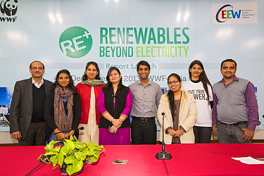 The launch of a renewable energy strategy report at the offices of WWF India in Delhi, India. December 2013