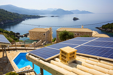 Solar panels on a house roof in Sivota, Greece. June 2014