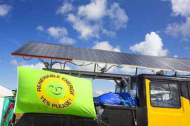Truck with solar panels attached at a protest against fracking at a farm site at Little Plumpton near Blackpool, Lancashire, UK, where the council for the first time in the UK, has granted planning pe...