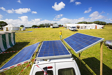 Van with solar panels attached at a protest against fracking at a farm site at Little Plumpton, near Blackpool, Lancashire, UK, where the council for the first time in the UK, has granted planning per...