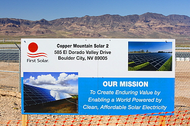 Copper Mountain Solar 2 project, a 150-megawatt (MW)  solar power plant that produces enough energy to power 45, 000 homes, in Nevada, USA. September 2014