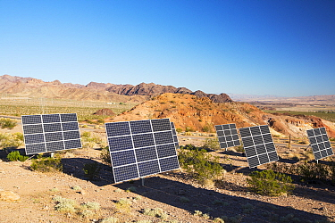 Solar panels next to a church near Lake Mead, Nevada, USA. September 2014