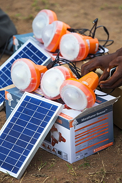 Solar lamps charging by solar panels, in the refugee camp of Chiteskesa refugee camp, near Mulanje. March 2015