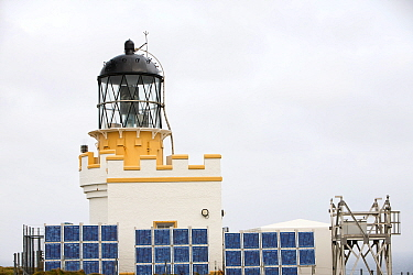 The Brough of Birsay lighthouse marks Orkney mainland's most north westerly tip. It was built in 1925 and converted to solar power in 2002. A bank of 36 solar panels charges an array of batteries that...